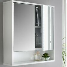 Gorgeous White High Gloss Bathroom Mirror Cabinet 2 Doors Cupboard Storage Unit