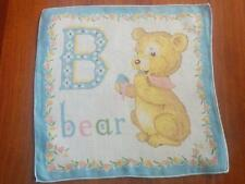 "Vintage Child Alphabet Blue ""B"" Bear Hanky Handkerchief Hankies"