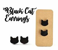 Black Cat Earrings 10mm Surgical Steel Studs Acrylic Jewellery