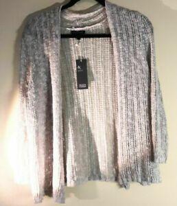 Eileen Fisher Size L Silk Linen Crochet Wrap Cardigan