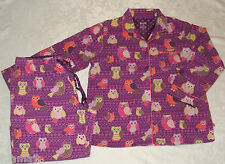 Nick Nora Purple Patchwork OWL Flannel Pajama Set 2 Pc XXL 2XL