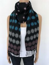 NEW! 100% Cashmere Germany Scarf  Hand Tailored Polka Dot Black Blue Brown Gray