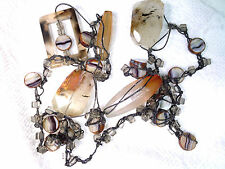 Vtg AGATE STONE HANDMADE CROCHETED? NECKLACE BEADS for craft repair or fix