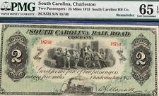 1873 SOUTH CAROLINA /CHARLESTON RAÍL ROAD $2 Remainder Gem U 65 EPQ