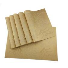 Washable Gold Placemats PVC Placemats Vinyl Kitchen Table Natural Mats 6pcs/set
