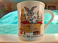 "PAPEL Office Quackery Humorous Coffee Mug ""Born to be Productive"" Bunny Work"