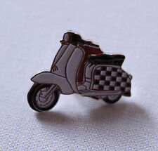 CHECKED SCOOTER ENAMEL PIN BADGE  SKINHEAD 2 TONE MOD BLACK WHITE RALLIES PATCH