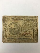 1776 Colonial Currency $6 Note  May 9th, 1776