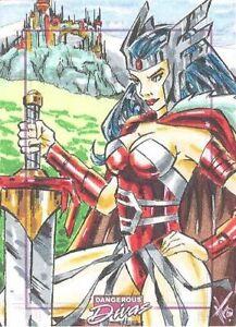 Dangerous Divas Series 2 Color SketchaFEX Humberto Fuentes Lady Sif sketch card!