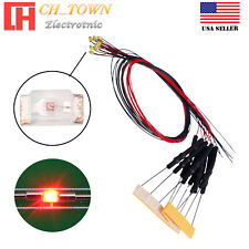 10PCS DC 6-12V 0402 1005 Red Lights SMD LED Diodes Pre-Soldered Wired 20CM Line