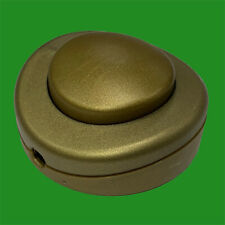 Gold 2/3 Core 2A Foot Button Lamp Light Round Floor Inline On/Off Switch, 65mm