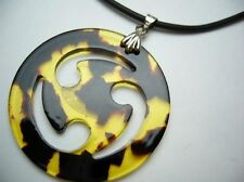 """Hawaiian Fake Turtle Shell Pendant w/ 2mm Rubber Cord Necklace 18"""" # 20505-1"""