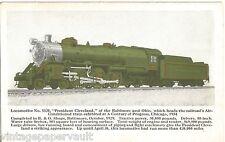"1934 LOCOMOTIVE #5320 ""PRESIDENT CLEVELAND"" POSTCARD / CENTURY OF PROGRESS FAIR"