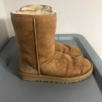 UGG Australia Classic Women's Size 8 Shoes Brown Stained Short Leather Boots