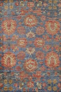 Blue Floral Traditional Oriental Area Rug jute Hand-knotted Foyer Carpet 5x8 ft