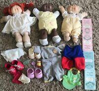 3 Vintage Cabbage Patch Dolls Clothing Birth Certicates Preemie Redhead Girl Boy
