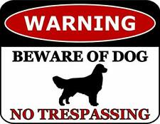 Warning Beware of Dog No Trespassing Golden Retriever Dog Sign SP2808