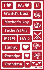 Over n Over Reusable Glass Etching Stencil  MOTHER  FATHER  GRANDMA  MOM DAD
