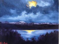 Original Mountain Oil Painting On Canvas Moonlight Reflection Landscape 8x10