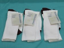 New 3 Pairs Vintage Men's Nelson Double Cushion II Tube Socks Size 10-13 White