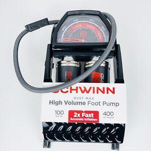 Schwinn Gust Max Foot Pump, for Schrader and Presta valves Black Gray Free Ship