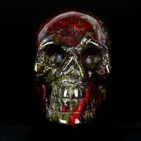 Dragon Blood Stone Crystal Skull Healing Vivid Skeleton Sculpture /Wholesale  Jf