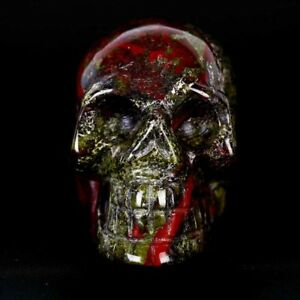 Dragon Blood Stone Crystal Skull Healing Vivid Skeleton Sculpture /Wholes WF