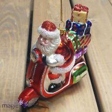Gisela Graham Christmas Glass Santa On Scooter Tree Bauble Decoration Ornament