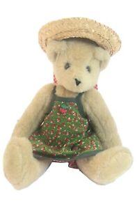 "1997 Vermont Teddy Bear Straw Hat Summer Green Radishes Red White Checker 12"""