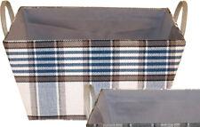 Franz Müller Storagebox 40x28 cm Bleu Tissu à Carreaux Rangement Panier de