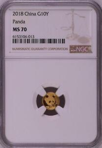 NGC MS70 2018 China Panda 1g Gold Coin
