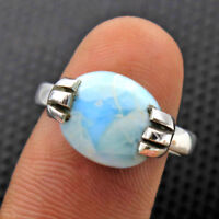 Dominican Republic Larimar Gemstone 925 Sterling Silver Ring Size us 7