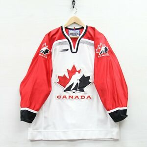 Vintage Team Canada Bauer Authentic Fight Strap Hockey Jersey Size 52 White