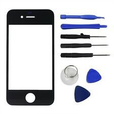 Replacement Front Screen Glass Lens Cover for iPhone 4S Black + Tools Kit