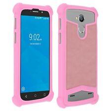 Coque bumper antichocs silicone/cuir rose pour smartphone Wiko Pulp 4G