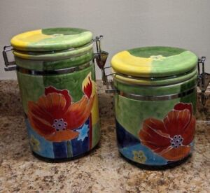 2 Baum Brothers Red Poppy Collection Floral Cannisters Metal Clasps Closure