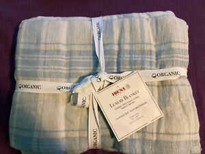 IBENA Organic Cotton Luxury Soft Blanket Blue And White Day QUEEN nwt