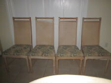 Hollywood    Regency Faux Bamboo dining four chairs upholstery fabric  Cane back