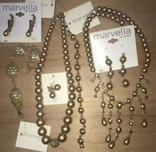 Beautiful Bronze / Gold Pearl 2 Sets 7 New Marvella by Monet Jewelry Lot