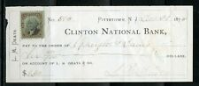 US THE CLINTON NATIONAL BANK CANCELLED CHECK 12/29/1875 WITH REVENUE STAMP