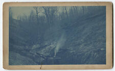 VINTAGE CYANOTYPE CLEAR CUTTING THE FOREST. EARLY ENGINE CRANE.