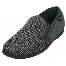 Dr Keller Mens Grey Brown Faux Suede Textile Cosy Slippers House Shoes