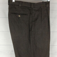 Perry Ellis Men's Size W32 x L30 Relaxed Brown Woven 100% Cotton Pleated Pants