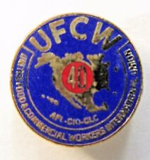 UFCW 40 YEAR United Food & Commercial Workers union tietac tie tack pin Mint MOC