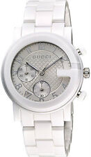Gucci YA101353 G-Chrono Chronograph Unisex White Ceramic Watch - New in Box