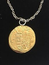 "Gold Doubloon Coin WC36 Gold Fine Pewter On a 24"" Silver Plated Chain Necklace"