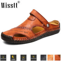 Mens Casual Closed Toe Leather Sandals Outdoors Sports Beach Slippers Flat Shoes