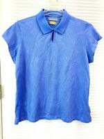 Greg Norman Womens Blue Play Dry Short Cap Sleeve Golf Polo Shirt Size XL