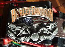 Harley Davidson,Baron belt buckle, 1991 H402, on Leather Belt. Large