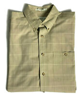 Orvis Mens Button Down Shirt 100% Cotton Plaid Long Sleeve LTL Large Tall Brown